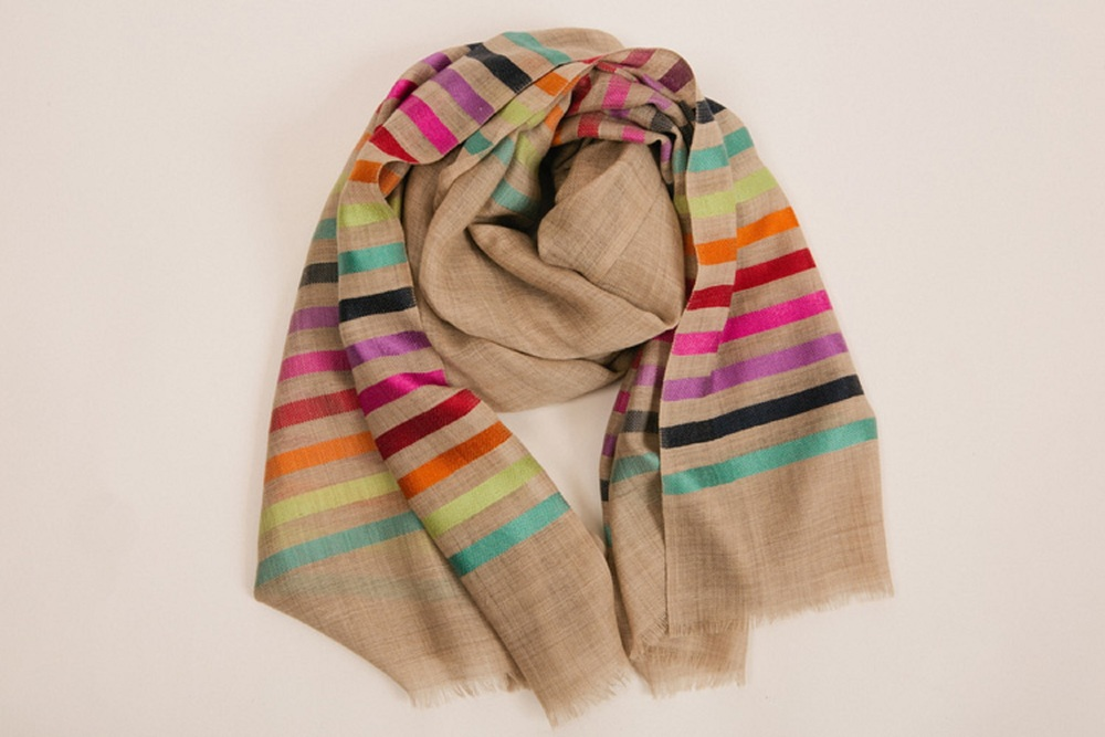 HOMEFRONT INTERIORS RAINBOW STRIP SHAWL/SCARF - £55.00