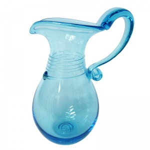 BATH AQUA GLASS TRAILED GLASS ROMAN JUG - £32.00