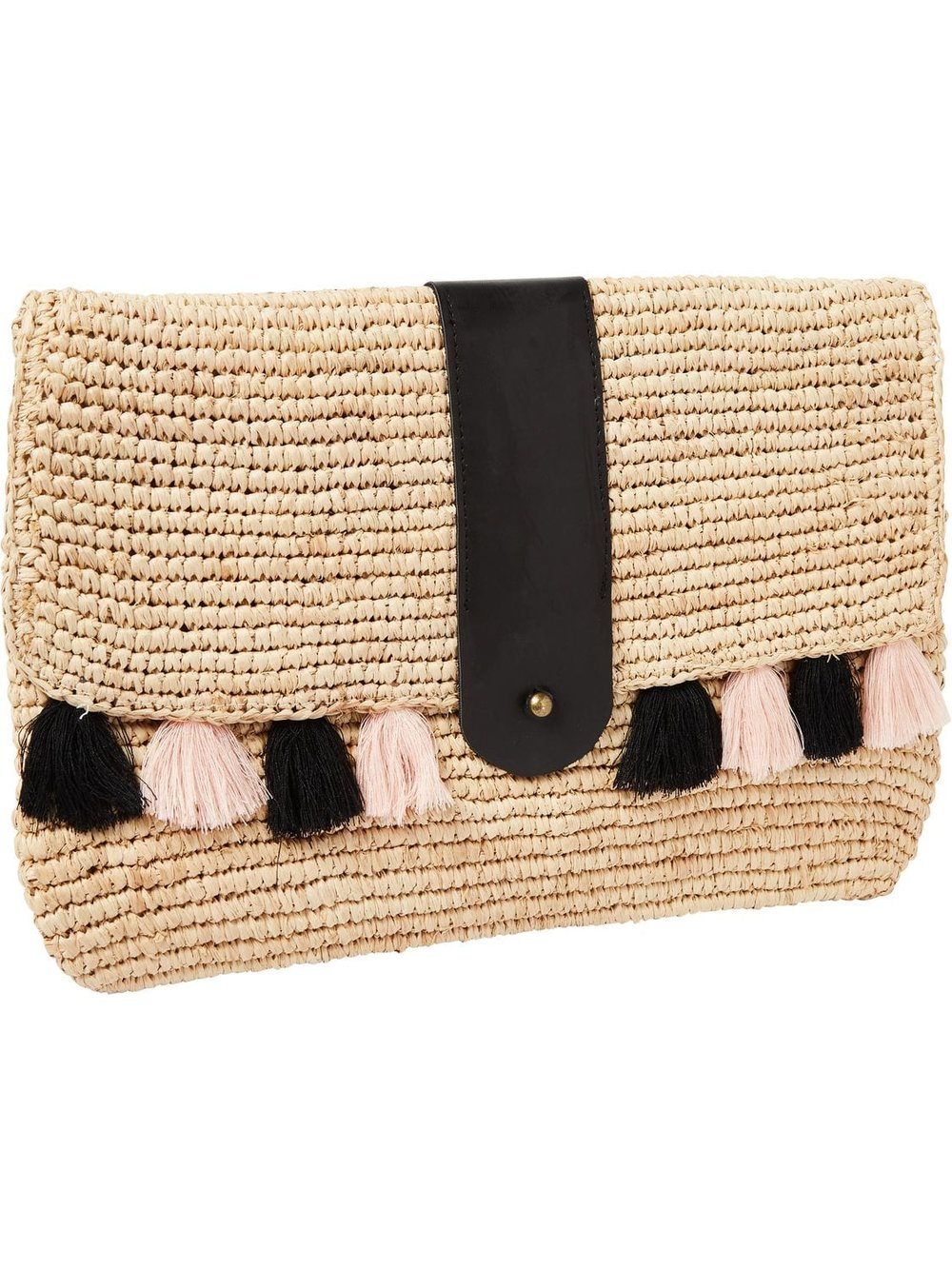 ASOS Maison Scotch Exclusive Wicker Clutch With Tassles