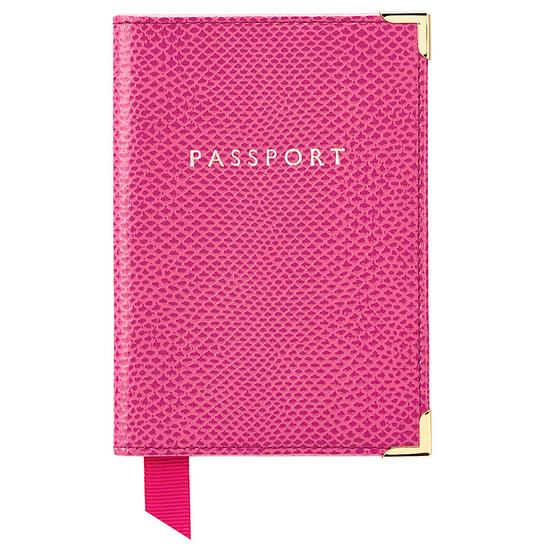 Aspinal of London Plain Passport Cover in Raspberry