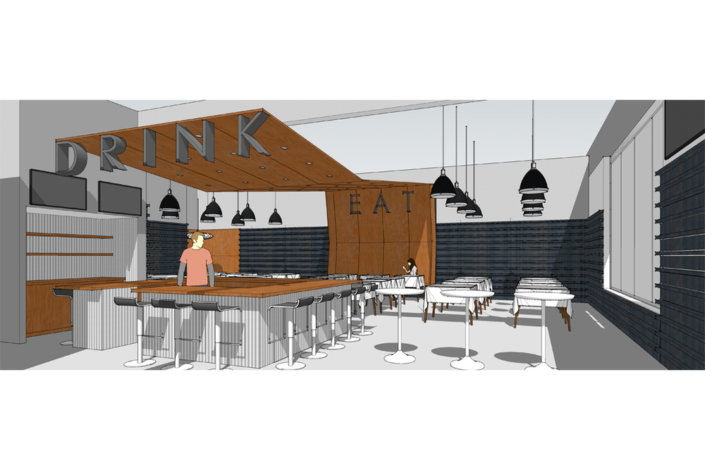 interior rendering of restaurant by vermont architects