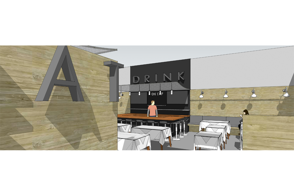 interior rendering of restaurant renovation by vermont architects