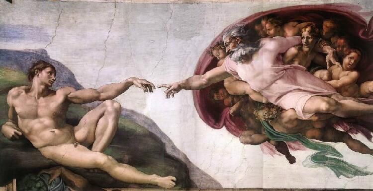 The Creation of Adam, above, a fresco painting by Michelangelo, Sistine Chapel, Vatican City, Rome, Italy.