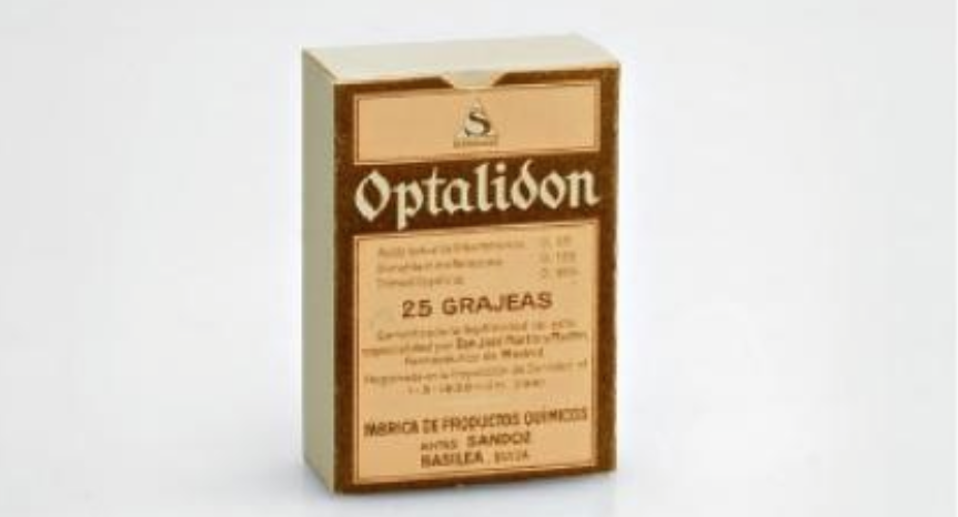 Optalidon packaging, above probably from the 1930s. https://en.wikipedia.org/wiki/Novartis#Sandoz_.28before_formation_of_Novartis.29