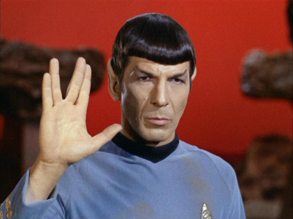 The late Leonard Nimoy as Mr. Spock. Mr. Nimoy got this salute from Hebrew ritual, or so the story goes.
