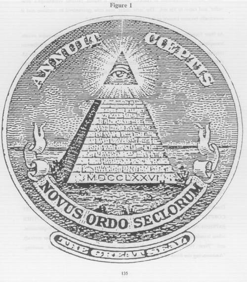 The Eye of Providence (or the all-seeing eye of God) is a symbol showing an eye often surrounded by rays of light or a glory and usually enclosed by a triangle. It is sometimes interpreted as representing the eye of God watching over humankind (or divine providence).[1][2][3] In the modern era, the most notable depiction of the eye is the reverse of the Great Seal of the United States, which appears on the United States one-dollar bill.