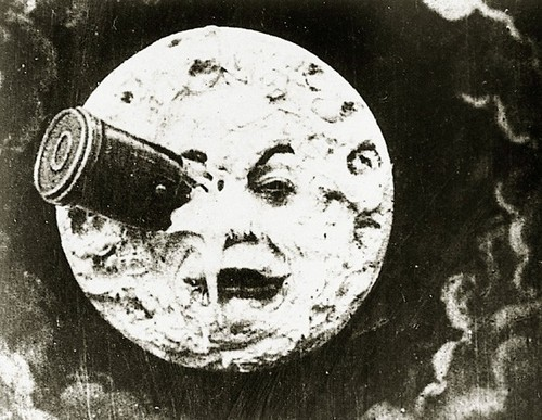 "Trips to the Lunar surface have long been the stuff of the imagination and works of pure fantasy. Above, the famous ""head shot"" from the classic film, 1902's ""Le Voyage dans la Lune"""