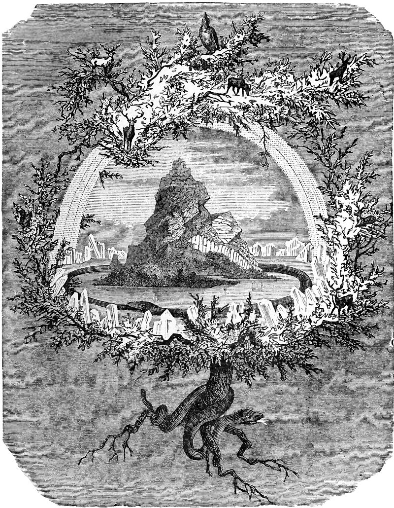 "Yggdrasil, the World Tree. An example of an axis mundi image. Odin hung from this tree as a sacrifice for nine days Please note the quartz crystals that encircle the central ""Mount Olympus"". The crystal was used for the design of Krypton and the fabled Fortress of Solitude. Please note too, the name, ""Sol-etude"", ""Sol"" as in the Sun as wells the double meaning of solo, or alone. We have but one Sun, or Sol and but one Moon or Mon.  So we have the words, ""Solo"" or ""Mono"" both meaning ""one"". ""When One is All and All is One"" This is a counterpart to the Earth's geographic North Pole, which happens to be the location of not only the Aurora Borealis, but Superman's Fabled Fortress of Solitude and Santa Claus' magical toy factory and home. https://en.wikipedia.org/wiki/Aurora"
