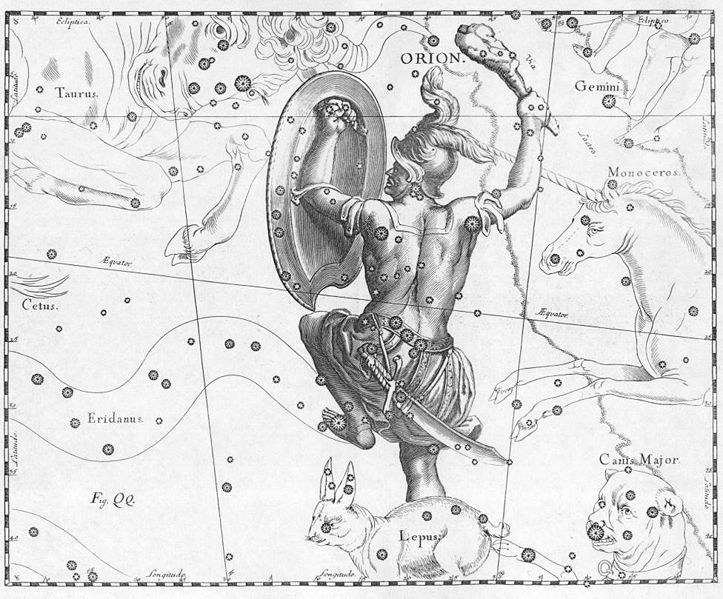 "Orion with rabbit or bunny at his feet, above. Orion is a hunter and associated with the weapon, the bow. A ""sky bow man"". Here he is depicted as Odysseus saw him in the after life, with a club. The name Lebowski can be thought of as: ""Le bow sky"" or ""The Sky Bow"" like Dave Bowman from the film and novel, 2001: A Space Odyssey. ""Ancient sources tell several different stories about Orion; there are two major versions of his birth and several versions of his death. The most important recorded episodes are his birth somewhere in Boeotia, his visit to Chios where he met Merope and was blinded by her father, Oenopion, the recovery of his sight at Lemnos, his hunting with Artemis on Crete, his death by the bow of Artemis or the sting of the giant scorpion which became Scorpio, and his elevation to the heavens.""  For more see: https://en.wikipedia.org/wiki/Orion_(mythology)"