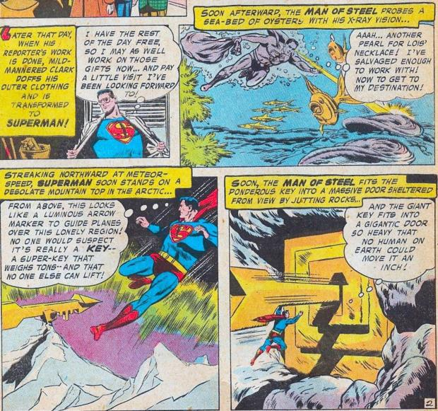 "The Silver Age era of comc book publishing. This is when the Fortress of Solitude was introduced. An idea taken, or ""borrowed"" from the pulp fiction character, ""Doc Savage"". Everyone copies everyone else, or so it would seem. Superman's comic book Fortress had a gold Sun door and gold key. It is a mountain like the image of Olympus. Here is the fabled ""Home of The Sun"". Here the axis mundi about which the Universe spins. Here the source of ""God's love"", pouring out into the world.  These ideas are suggested by the overall mythic imagery and themes."