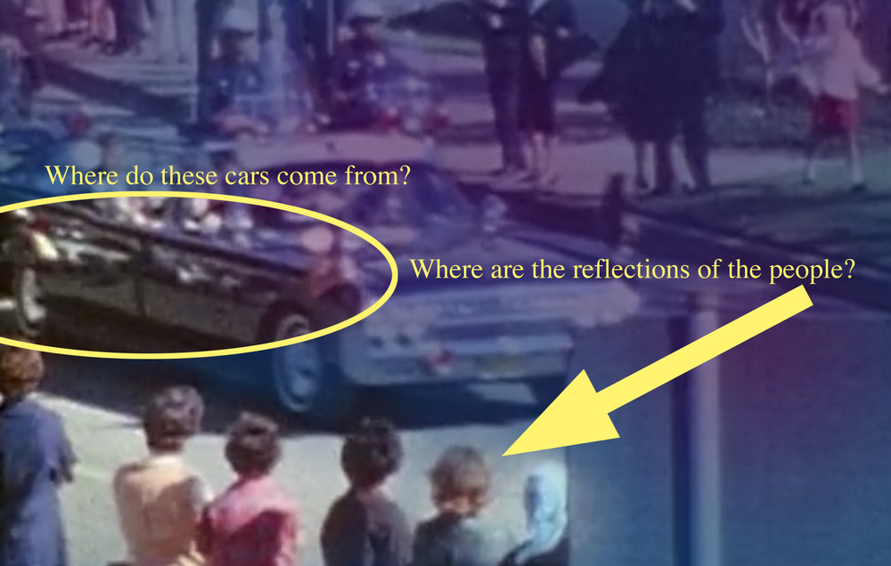 Zapruder film a live action cartoon. Look at the side of the Presidential Limo, where is the reflection of the nearby crowd? Why is there motorcade itself ( or what appears to be a duplicate motorcade) reflected onto itself? See Front screen Hollywood projection technique.      zapruder fake