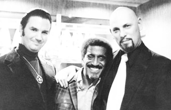 Sammy Davis Jr and two Satanists, circa the late 1960's or early 1970's. Michael Aquino, Davis and LeVay, all three seem like Hollywood performers to me.