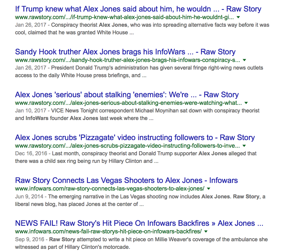 Info Wars Rawstory Alex Jones