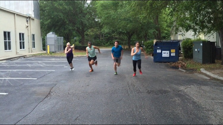 The 7:00 class gettin after those sprints last night!