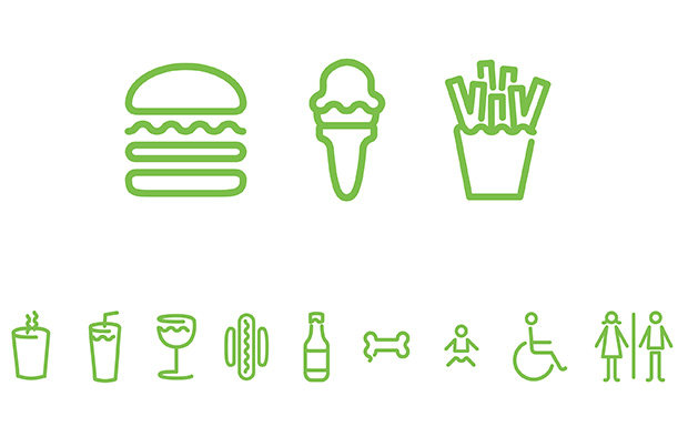 Shake Shack icons via Pentagram