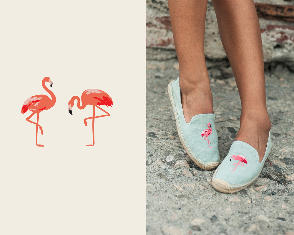 Flamingos sketched in Paper were the star of Soludos summer 2015 shoes