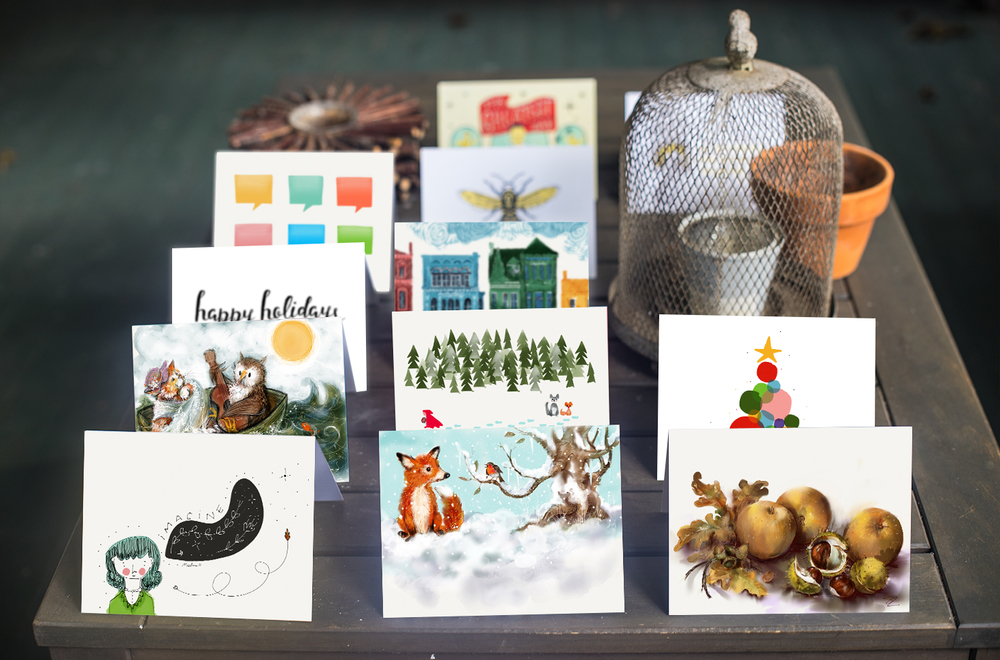 Send a Felt card featuring a holiday illustration by a Paper artist