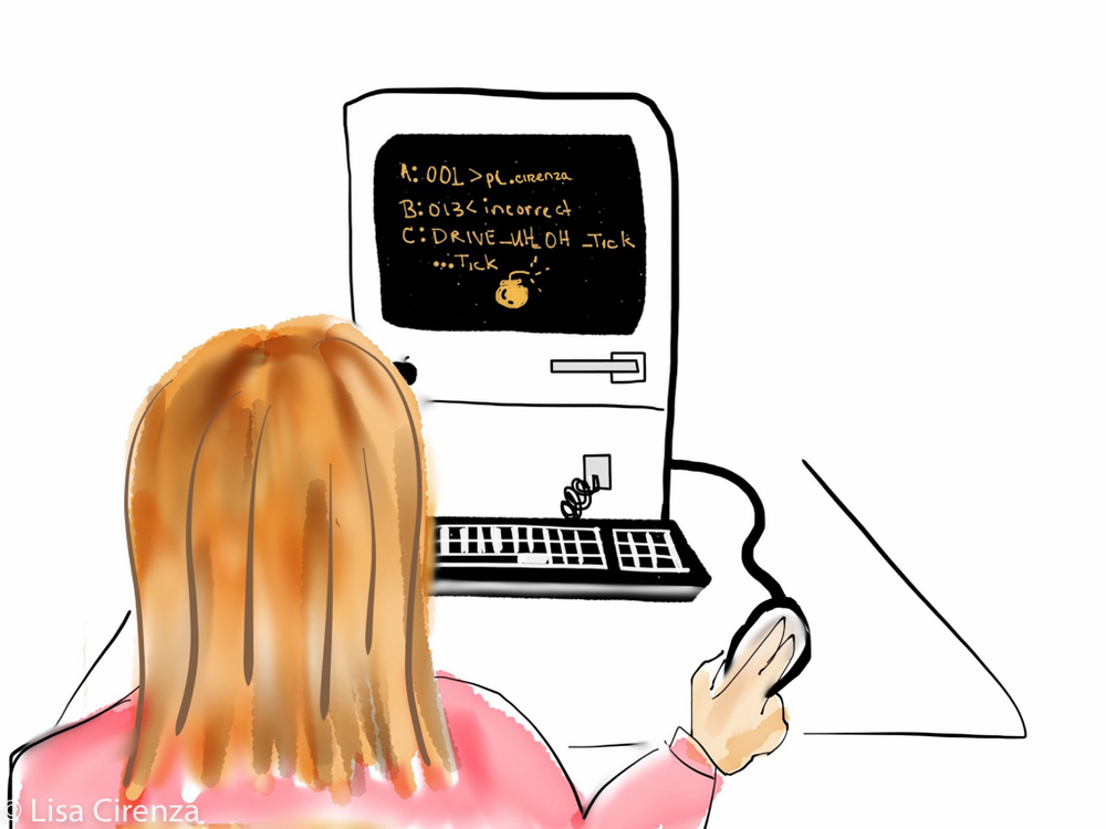 "Lisa's plan was to study Earth Sciences and French, the French being a ploy to get in the Paris program and study art.  During her sophomore year, however, Apple introduced its first desktop computer. She was hooked and became a closet techie, as depicted in ""Not Again!"""