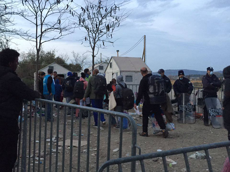 Refugees cross their first EU border from Greece into Macedonia