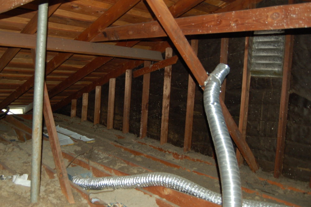 A big IAQ no-no: Our bath fan being vented into the attic. At least it's pointed in the general direction of a gable vent. (The flex duct one (exiting stage right) goes  toward   a rafter bay vent.)