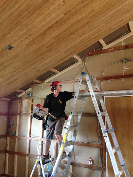 The sloped ceiling required that sometimes we get creative with the laddering.