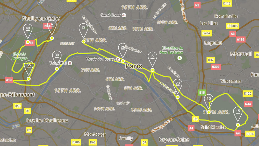 (Map: Paris marathon app)