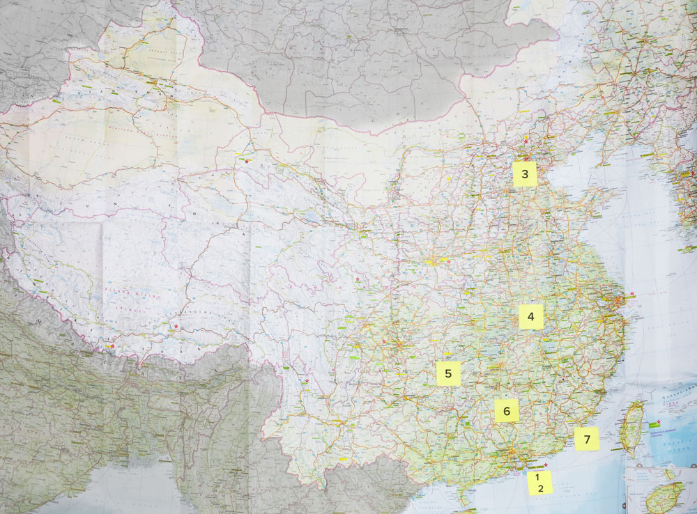 China map of sites