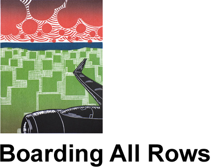 Linocut Prints, Gifts for Travelers, Airport Posters and Block Printing Techniques by Boarding All Rows