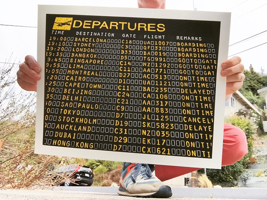 """Departures"" - Airport Departure Board - Linocut Print"