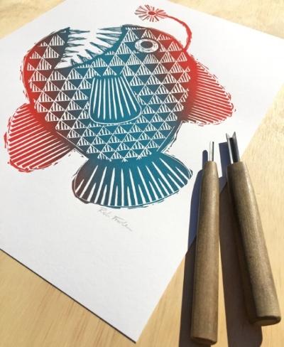 Anglerfish Lino Print
