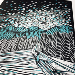 "Reduction Linocut - ""Last Run"" Skiing Print"