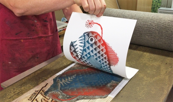 Multi-Color Lino Block Printing Using the Blended Roll Technique