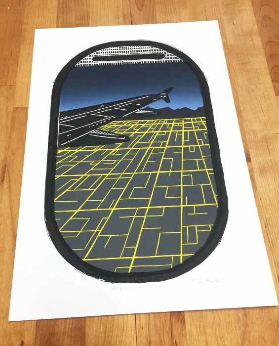 Airplane Window View Art Print - An original linocut print made from hand-carved linoleum blocks.