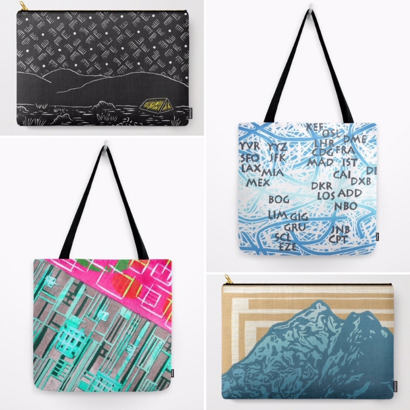 Some of my tote bags and carry-all pouches on Society6