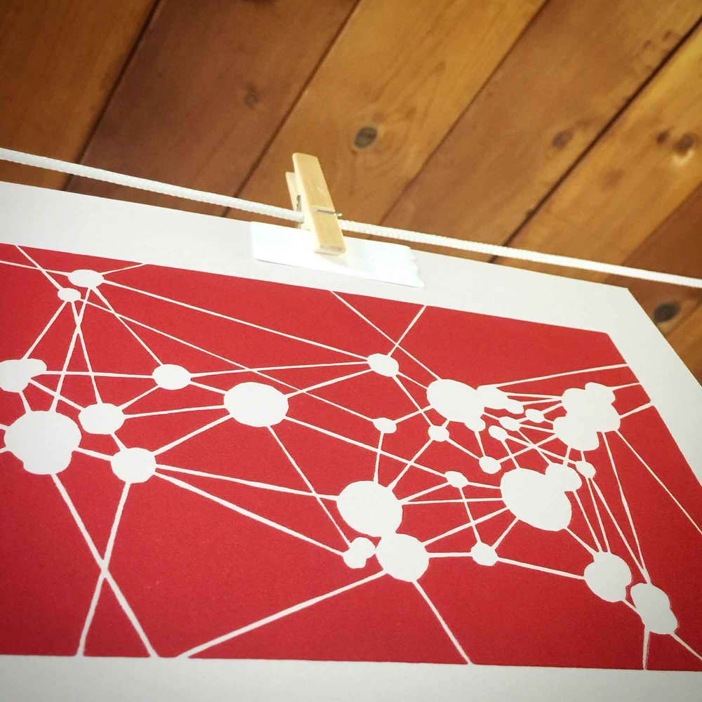 Across America | Linocut Print