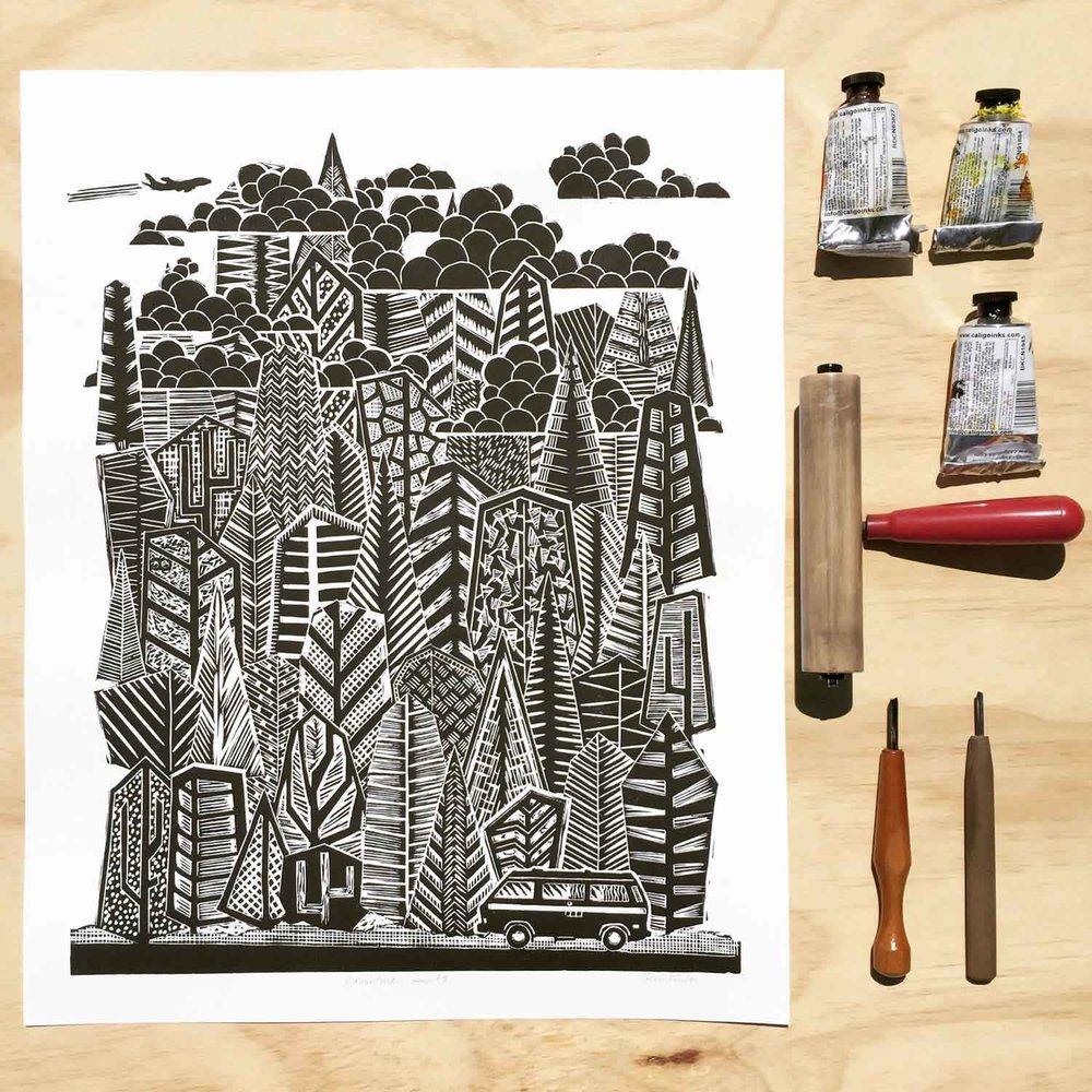 Adventure Awaits | Linocut Print