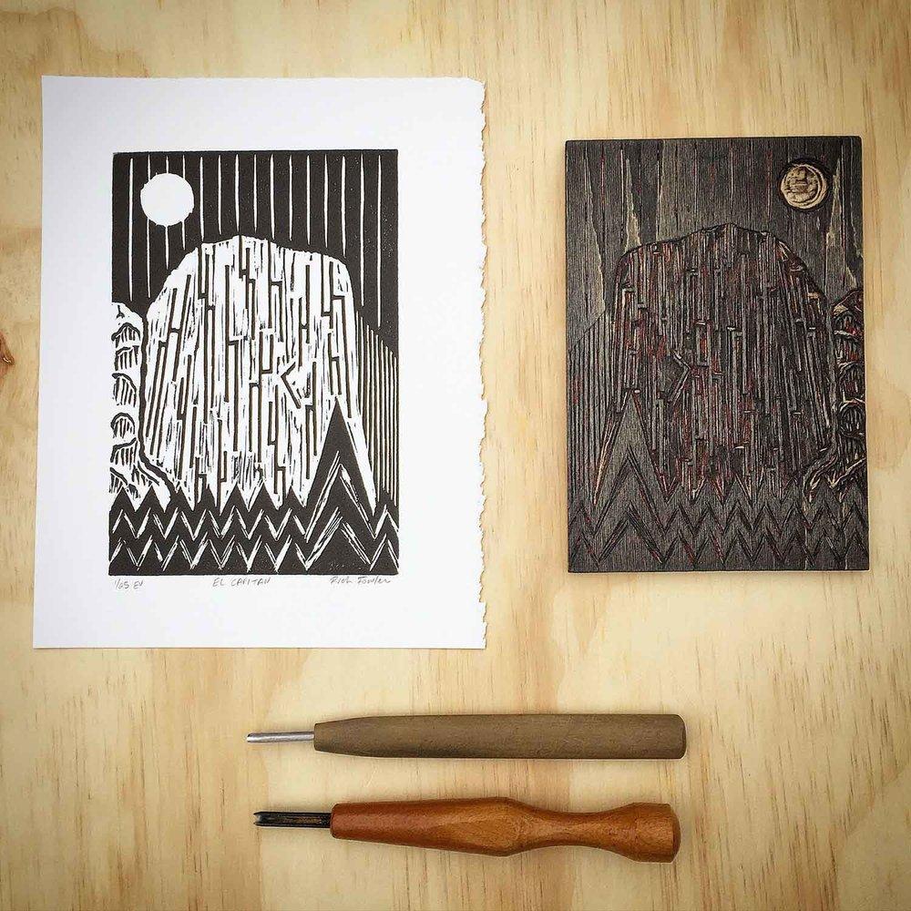 El Capitan   Woodcut Print