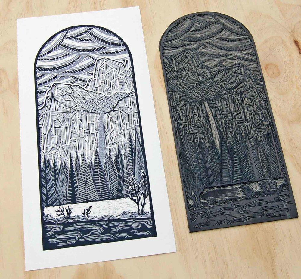 Bridalveil Fall   Linocut Print