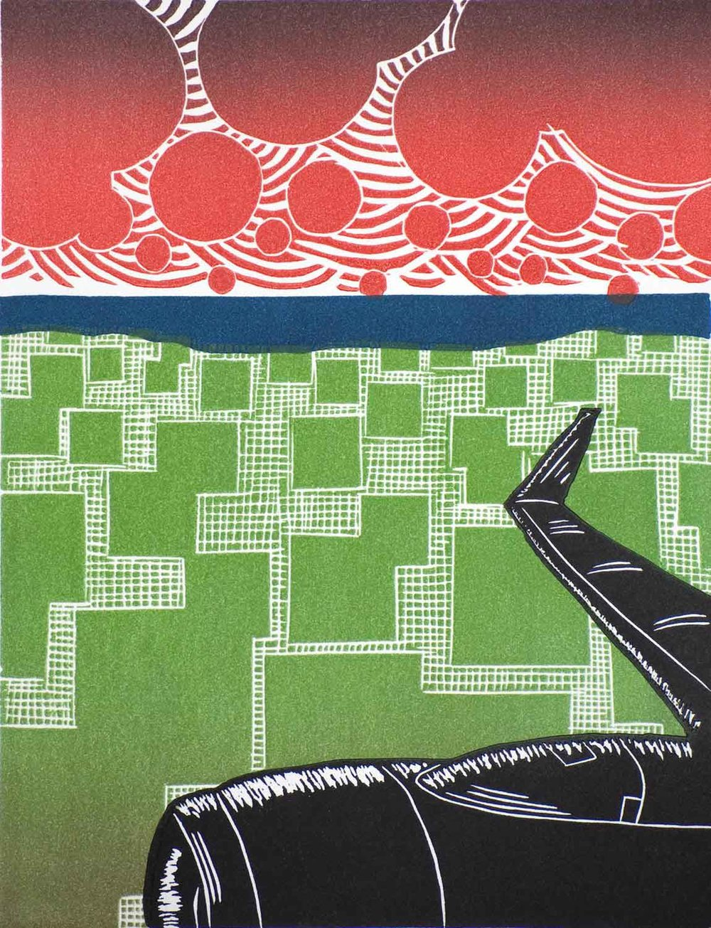 On the Way | Linocut Print