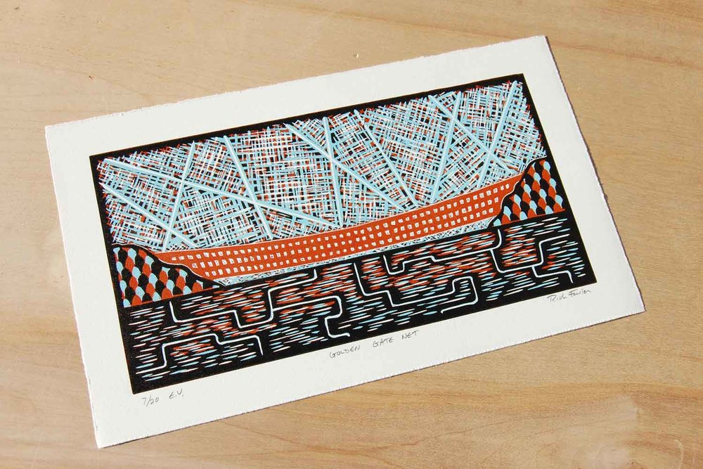 Golden Gate Net | Reduction Linocut Print
