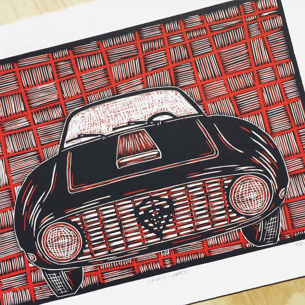 Lancia-Nardi | Reduction Linocut Print