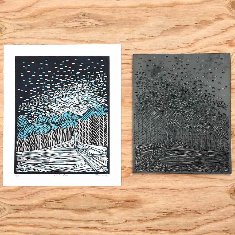 Last Run | Reduction Linocut Print