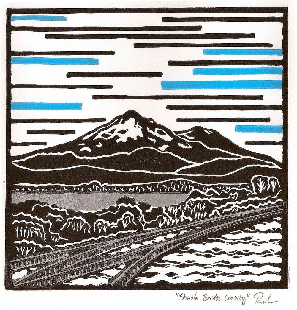 Shasta Border Crossing | Linoleum Print