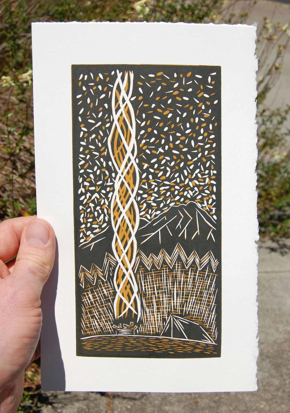 Solitude II | Reduction Linocut Print