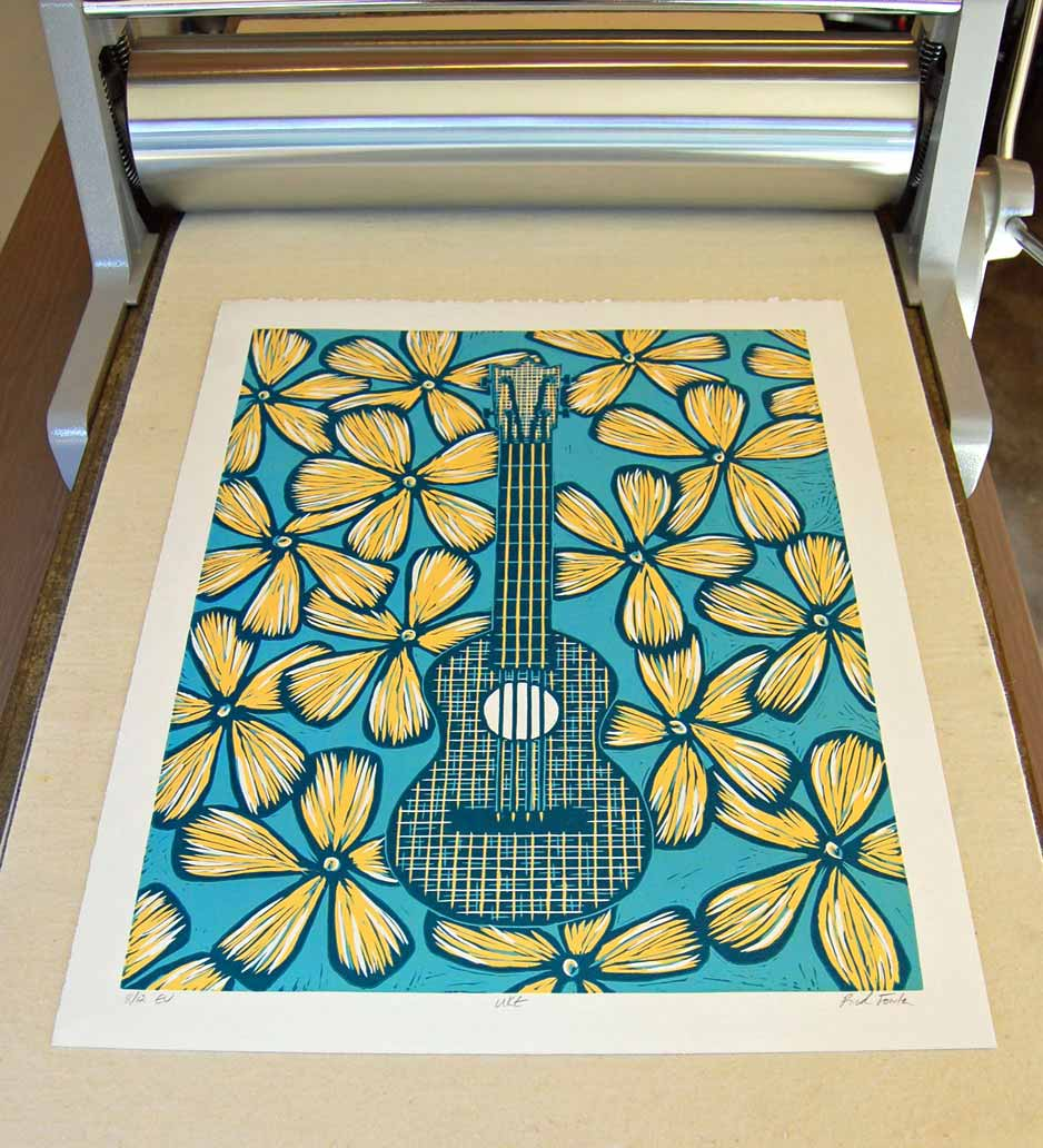 Ukulele | Reduction Lino Print