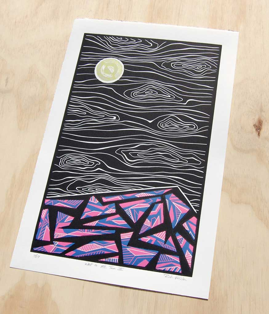 West to Mt. Tam II | Relief Print