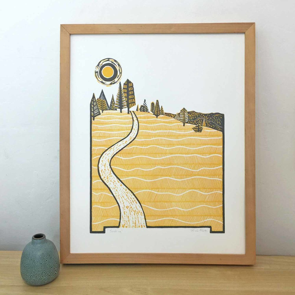 Seeking | Linocut Print