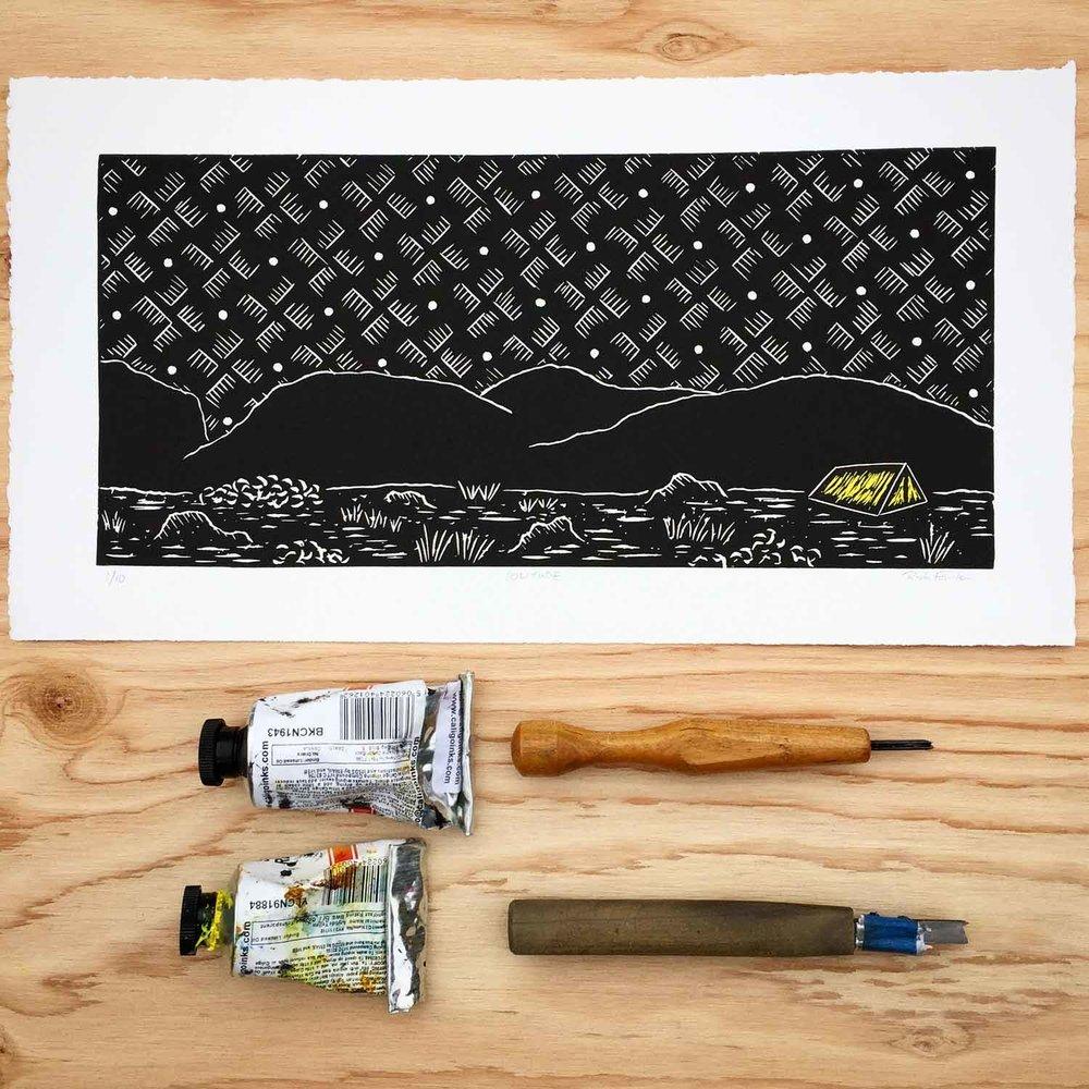 Solitude | Linocut Print