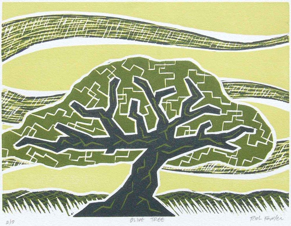 Olive Tree   Woodcut Print