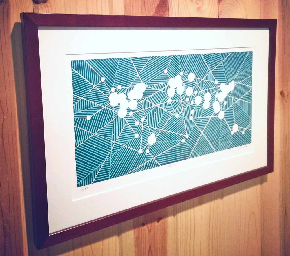 World Wanderlust   Linocut Print
